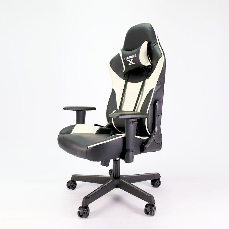 Ghế chơi game F1 Racing – X màu trắng đen